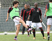 Pato and Clarence Seedorf of AC Milan during a practice session at RFK practice facility in Washington DC on May 24 2010.