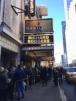 NEW YORK, NY - NOVEMBER 19:  'Hamilton' ticket holders wait in line at the Richard Rodgers Theater in Times Square the afternoon after Vice-President Elect Mike Pence was reportedly booed while attending a performance of the Broadway musical and where cast member Brandon Victor Dixon addressed Pence directly during the curtain call  in New York, New York on November 19, 2016.  Photo Credit: Rainmaker Photo/MediaPunch