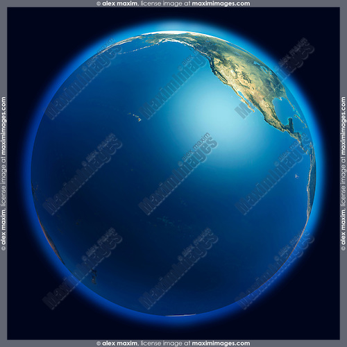 View of the Earth globe from space showing the Pacific ocean and a part of North American continent. Isolated on dark blue background.