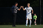 26 August 2016: Wake Forest's Ian Harkes (16) and head coach Bobby Muuss (left). The Wake Forest University Demon Deacons hosted the Saint Louis University Billikens in a 2016 NCAA Division I Men's Soccer match. SLU won the game 1-0.