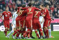FUSSBALL   1. BUNDESLIGA  SAISON 2012/2013   13. Spieltag FC Bayern Muenchen - Hannover 96     24.11.2012 JUBEL mit Thomas Mueller, Mario Mandzukic,  Franck Ribery , Holger Badstuber (v. li., FC Bayern Muenchen)