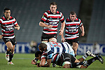 Steelers Sherwin Stowers, Ronald Raaymakers and Grant Henson watch as Fritz Lee is taken to ground by Joe Rokocoko. ITM Cup Round 7 rugby game between Auckland and Counties Manukau, played at Eden Park, Auckland on Thursday August 11th..Auckland won 25 - 22.