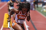 13 JUNE 2015: Morgan Snow of Texas warms up before the start of the Women's 4X100 meter relay during the Division I Men's and Women's Outdoor Track & Field Championship held at Hayward Field in Eugene, OR. Steve Dykes/ NCAA Photos