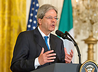 Prime Minister Paolo Gentiloni of Italy conducts a joint press conference with United States President Donald J. Trump in the East Room of the White House in Washington, DC on Thursday, April 20, 2017.<br /> Credit: Ron Sachs / CNP /MediaPunch