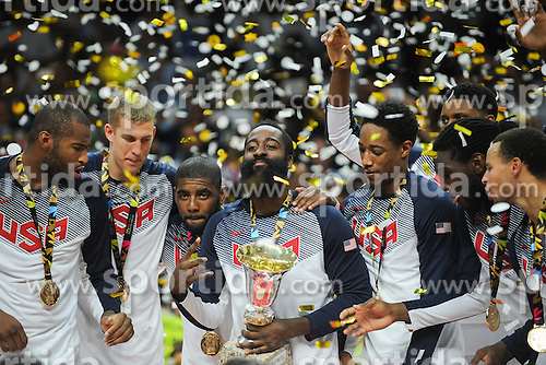 Players of USA celebrate with gold medals after winning during the 2014 FIBA World Basketball Championship Final match between USA and Serbia at the Palacio de los Deportes, on September 14, 2014 in Madrid, Spain. Photo by Tom Luksys  / Sportida.com <br /> ONLY FOR Slovenia, France