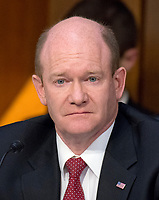 United States Senator Chris Coons (Democrat of Delaware) listens as Judge Neil Gorsuch testifies before US Senate Judiciary Committee on his nomination as Associate Justice of the US Supreme Court to replace the late Justice Antonin Scalia on Capitol Hill in Washington, DC on Tuesday, March 21, 2017.<br /> Credit: Ron Sachs / CNP /MediaPunch