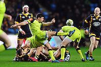 Ben Youngs of Leicester Tigers box-kicks the ball. Aviva Premiership match, between Wasps and Leicester Tigers on January 8, 2017 at the Ricoh Arena in Coventry, England. Photo by: Patrick Khachfe / JMPTigers - Aviva Premiership.