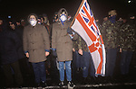 Belfast The Troubles. 1980s. Red Hand Commandos Ulster Volunteer Force UVF paramilitary meet outskirts of Belfast.