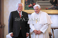 Pope Benedict XVI greets Feleti Sevele (C), Prime Minister of the Kingdom of Tonga, in front of his wife Ainise (R) at the end of a private audience in the pontiff's private studio at the Vatican on May 20, 2010.