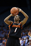 19 November 2014: Oklahoma State's Brittany Atkins. The University of North Carolina Tar Heels hosted the Oklahoma State University Cowgirls at Carmichael Arena in Chapel Hill, North Carolina in a 2014-15 NCAA Division I Women's Basketball game. UNC won the game 79-77.