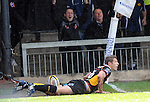 Jason Tovey looks at the referee to see if the try was given.  Newport Gwent Dragons V Leinster, Magners League © Ian Cook IJC Photography, 07599826381,  iancook@ijcphotography.co.uk, www.ijcphotography.co.uk