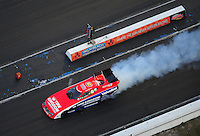 Jan. 21, 2012; Jupiter, FL, USA: Aerial view of NHRA funny car driver Johnny Gray during testing at the PRO Winter Warmup at Palm Beach International Raceway. Mandatory Credit: Mark J. Rebilas-