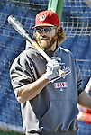 11 October 2012: Washington Nationals outfielder Jayson Werth awaits his turn in the batting cage prior to Postseason Playoff Game 4 of the National League Divisional Series against the St. Louis Cardinals at Nationals Park in Washington, DC. The Nationals defeated the Cardinals 2-1 on a 9th inning, walk-off solo home run by Werth, tying the Series at 2 games apiece. Mandatory Credit: Ed Wolfstein Photo