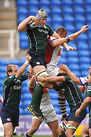 2005/06 Guinness Premiership Rugby, London Irish vs Bristol Rugby; Bob Casey collects the line out ball, cahallenged By Bristols Gareth Llewellyn Madejski Stadium, Reading, ENGLAND 24.09.2005   © Peter Spurrier/Intersport Images - email images@intersport-images..