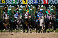 OLDSMAR, FLORIDA - FEBRUARY 11: Tapa Tapa Tapa #3, ridden by Jesus L. Castanon (blue hat), exits the gate and eventually wins the Suncoast Stakes at Tampa Bay Downs on February 11, 2017 in Oldsmar, Florida (photo by Douglas DeFelice/Eclipse Sportswire/Getty Images)