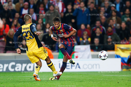 Neymar (Barcelona), APRIL 1, 2014 - Football / Soccer : UEFA Champions League Round of 8, 1st leg match between FC Barcelona 1-1 Atletico de Madrid at Camp Nou stadium in Barcelona, Spain. (Photo by D.Nakashima/AFLO) goal