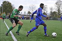 VOETBAL: HEERENVEEN: 07-11-2015, Heerenveense Boys - Zwaagwesteinde, uitslag 2-3, Ronaldo Jansen (#8), Sietze Bosma (#2), uitslag 2-3, ©foto Martin de Jong