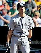 New York Yankees first baseman Mark Teixeira (25) bats in the ninth inning against the Baltimore Orioles at Oriole Park at Camden Yards in Baltimore, Maryland in the first game of a doubleheader on Sunday, August 28, 2011.  He later singled on a ground ball.  The Orioles won the game 2 - 0..Credit: Ron Sachs / CNP.(RESTRICTION: NO New York or New Jersey Newspapers or newspapers within a 75 mile radius of New York City)