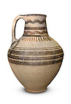 Stock photo of a Jug White painted ware Cypro-classical wine jug 475-325 BC Cyprus Wine Museum Isolated silhouette with a clipping path over white background