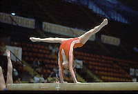 Hana Ricna of Czechoslovakia performs on balance beam at 1985 European Championships in women's artistic gymnastics at Helsinki, Finland in late April, 1985.  Photo by Tom Theobald.