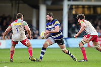 Elliott Stooke of Bath Rugby looks to pass the ball. Aviva Premiership match, between Bath Rugby and Harlequins on February 18, 2017 at the Recreation Ground in Bath, England. Photo by: Patrick Khachfe / Onside Images