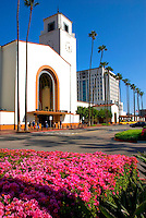 Union Train Station Exterior, Entrance, Clock Tower, Downtown, Los Angeles CA High dynamic range imaging (HDRI or HDR)