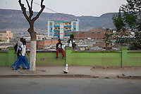 26 September 2011, Lubango, Angola. General street scenes of life in the Provincial capital. Boy selling milk.
