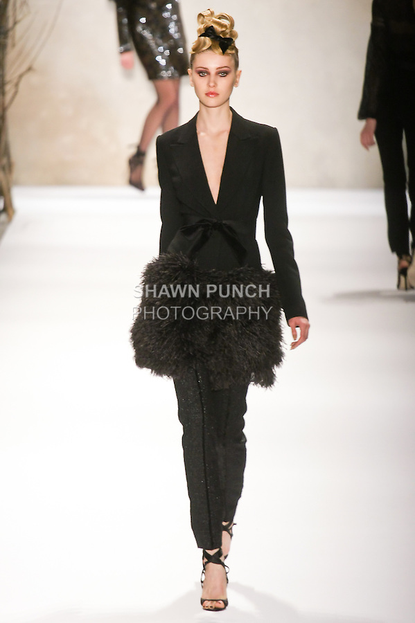 Alexandra walks runway in a Monique Lhuillier Fall 2011 outfit, during Mercedes-Benz Fashion Week Fall 2011.