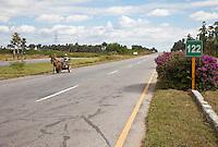 Cuba, Pinar del Rio Region, Viñales (Vinales) Area.  Highway A4.  Horse-drawn Cart using a Divided Highway.