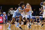 24 January 2016: Duke's Rebecca Greenwell (right) tries to strip the ball from North Carolina's N'Dea Bryant (22). The Duke University Blue Devils hosted the University of North Carolina Tar Heels at Cameron Indoor Stadium in Durham, North Carolina in a 2015-16 NCAA Division I Women's Basketball game. Duke won the game 71-55.