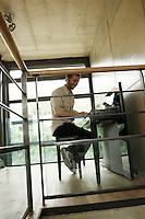 Laurent plays his Yamaha piano on the mezzanine