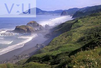 Foggy Oregon coastline and seastacks near Nesika Beach.