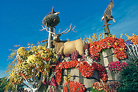 Lewis & Clark Expedition, Rose Parade, Float, City of St. Louis, pioneer spirit, dense forest, rivers, waterfall, canoe and horse