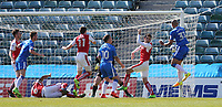 Gillingham's Zesh Rehman scores his sides first goal  <br /> <br /> Photographer Rob Newell/CameraSport<br /> <br /> The EFL Sky Bet League One - Gillingham v Fleetwood Town - Saturday 22nd April 2017 - MEMS Priestfield Stadium - Gillingham<br /> <br /> World Copyright &not;&copy; 2017 CameraSport. All rights reserved. 43 Linden Ave. Countesthorpe. Leicester. England. LE8 5PG - Tel: +44 (0) 116 277 4147 - admin@camerasport.com - www.camerasport.com