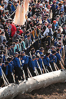 Pillar teams turning the sacred pillar during the Onbashira festival, where 16 sacred pillars are brought by hand to rejuvenate each the upper and lower Suwa Shrines in Nagano Prefecture.