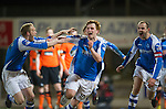 St Johnstone v Dundee United.....01.04.13      SPL.Liam Craig celebrates his late equaliser which guarantee's saints a top six place with Steven Anderson and Dave Mackay.Picture by Graeme Hart..Copyright Perthshire Picture Agency.Tel: 01738 623350  Mobile: 07990 594431