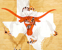 View from above as LaMarcus Aldridge and <br /> Major Wingate<br /> vie for the opening Tip-off, Tennessee Volunteers at Texas Longhorns. Frank Erwin Center, Austin TX. Saturday, December 17 2005. Photograph &copy; 2005 Darren Carroll