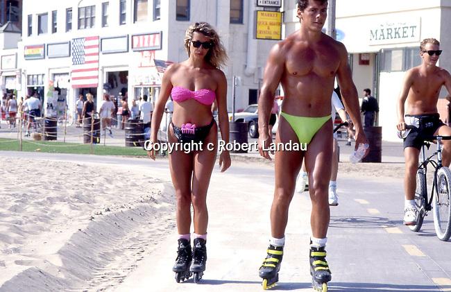 Couple roller skating in Venice Beach circa 1980s