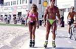 Couple roller skating in Venice Beach circa 1980s