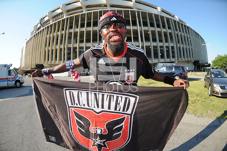 DC United fan. DC United defeated The Kansas City Wizards  2-0 at RFK Stadium, Wednesday May 5, 2010.
