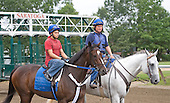 Scott Blasi leads Rachel Alexandra after gate schooling.