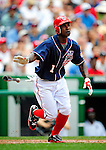 4 July 2009: Washington Nationals' outfielder Nyjer Morgan in action against the Atlanta Braves at Nationals Park in Washington, DC. The Nationals rallied with 4 runs in the 8th to defeat the Braves 5-3 and take the second game of the 3-game weekend series. Mandatory Credit: Ed Wolfstein Photo