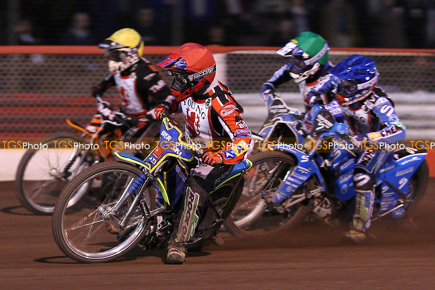 Heat 11: Steve Boxall (red), Joe Haines (blue), Sean Stoddart (green) and Jack Roberts (yellow) - British U21 Speedway Championship at The Arena Essex Raceway, Lakeside - 25/04/08 - MANDATORY CREDIT: Rob Newell/TGSPHOTO