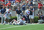 Georgia free safety Bacarri Rambo (18) intercepts a pass thrown to Ole Miss' Melvin Harris (5) at Vaught-Hemingway Stadium in Oxford, Miss. on Saturday, September 24, 2011. Georgia won 27-13.