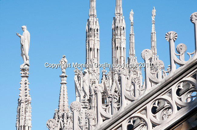 The roof of the Duomo (Cathedral) in Milan, Italy. The detailed carvings on the roof of the Duomo in Milan, Italy.
