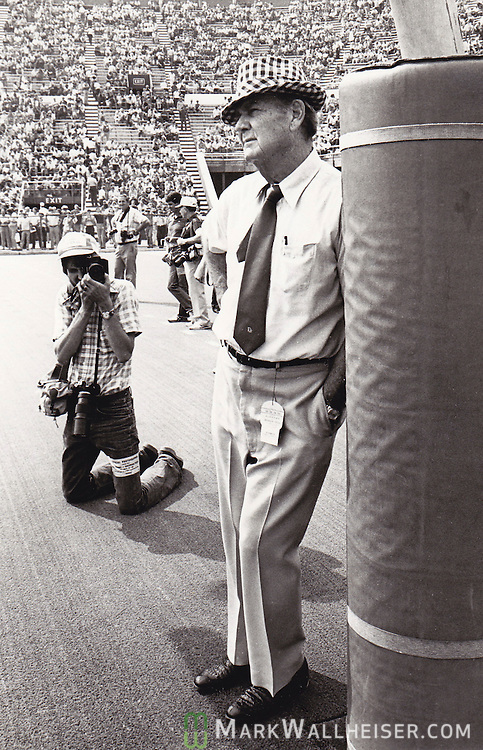 """Me photographing the legendary coach Paul """"Bear"""" Bryant in his normal pre-game stance against the goal post prior to the Alabama -Tennessee game at Bryant-Denny Stadium in Tuscaloosa, Alabama October 29, 1979.  Alabama won 27-17 and went on to be undefeated and win the BCS National Championship in the Sugar Bowl."""