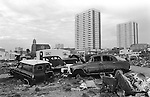 Irish Tinker scrap car metal dealers Gypsy inner city camp site Balsall Heath Birmingham UK 1967.<br />