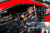 Aug 21, 2016; Brainerd, MN, USA; NHRA pro stock driver Drew Skillman during the Lucas Oil Nationals at Brainerd International Raceway. Mandatory Credit: Mark J. Rebilas-USA TODAY Sports
