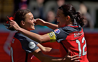 Portland, OR - Saturday April 15, 2017: Hayley Raso, Christine Sinclair celebrates scoring during a regular season National Women's Soccer League (NWSL) match between the Portland Thorns FC and the Orlando Pride at Providence Park.