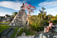 Tikal National Park, Guatemala, March 2012. In the heart of the jungle, surrounded by lush vegetation, lies one of the major sites of Mayan civilization, inhabited from the 6th century B.C. to the 10th century A.D. The ceremonial centre contains superb temples and palaces, and public squares accessed by means of ramps. Remains of dwellings are scattered throughout the surrounding countryside. Guatemala is a great country to experiencce the Mayan lifestyle and see the ruins of ancient cultures. Photo by Frits Meyst/Adventure4ever.com